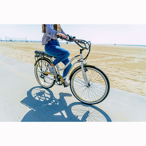 Image of Swagtron EB10 Step Through Cruiser Electric Bike Side View Road
