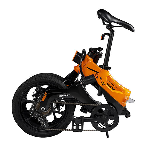 Swagtron EB7 Plus Electric Bike Folded Extended Seat Reverse Angle
