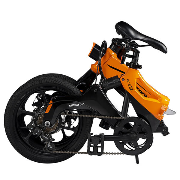 Swagtron EB7 Plus Electric Bike Folded Seat Reverse Angle