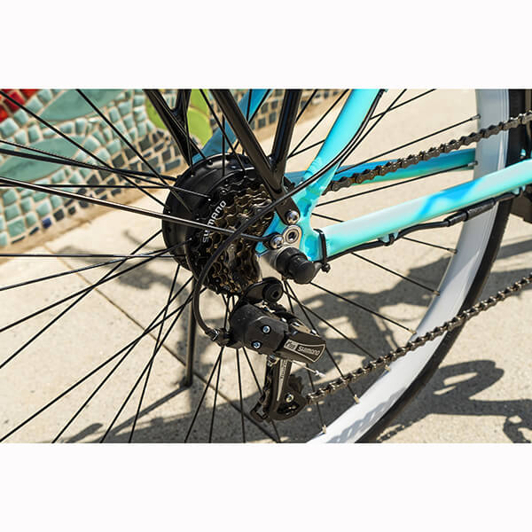Swagtron EB9 Step-Through Electric City Bike Back Wheel