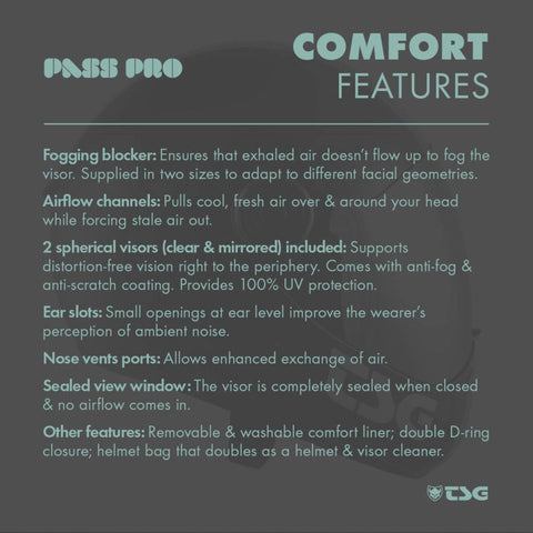 Image of TSG Pass Pro Full Face Helmet comfort features
