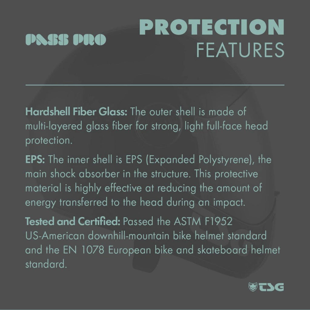 TSG Pass Pro Full Face Helmet protection features