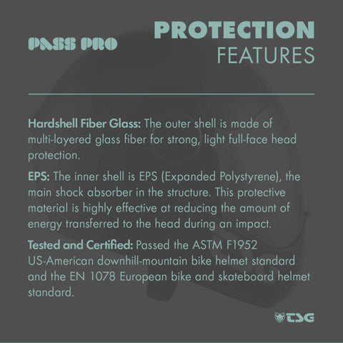Image of TSG Pass Pro Full Face Helmet protection features