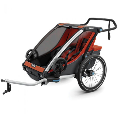Thule Chariot Cross 2 Kids Bike Trailer red bike adapter