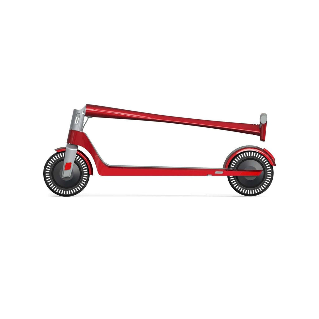 Unagi Model One Electric Scooter red folded side view