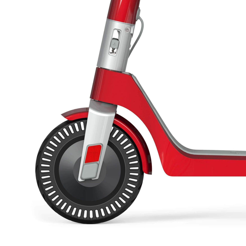 Unagi Model One Electric Scooter red wheel close up