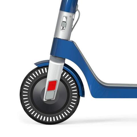 Unagi Model One Electric Scooter blue front wheel close up