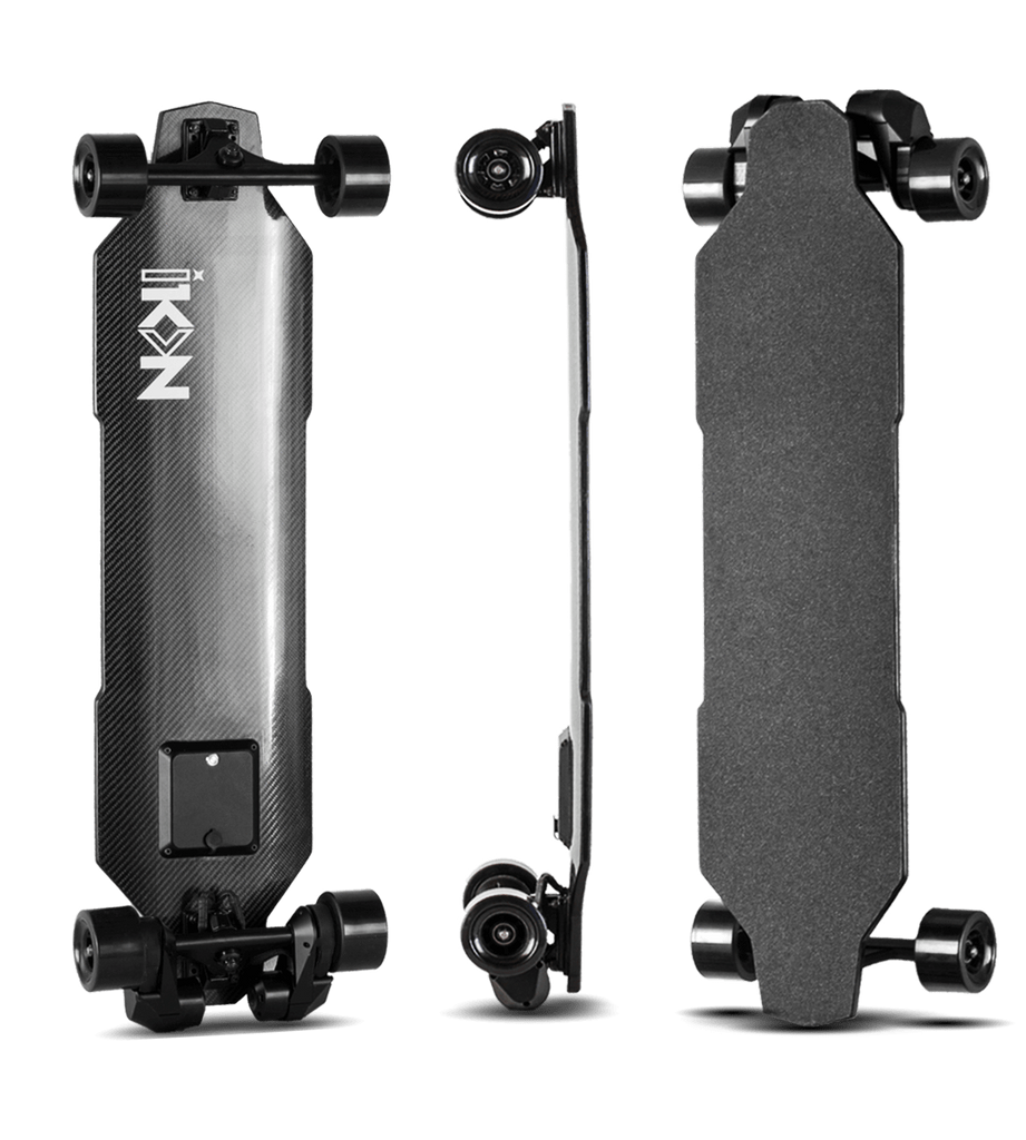 iKON Edge Electric Skateboard front back and side vertical views