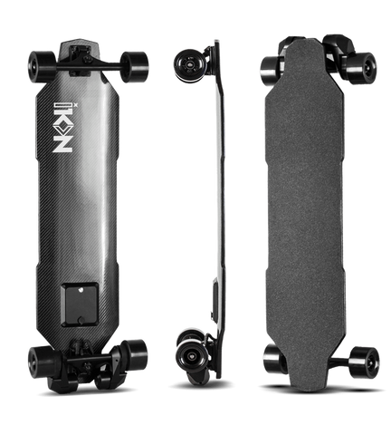 Image of iKON Edge Electric Skateboard front back and side vertical views