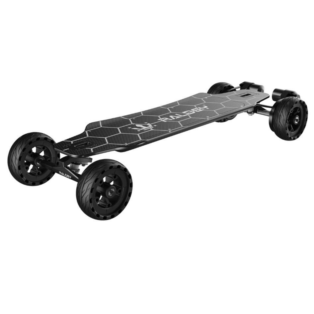 Raldey Carbon AT V.2 Off-Road Electric Skateboard front angled view