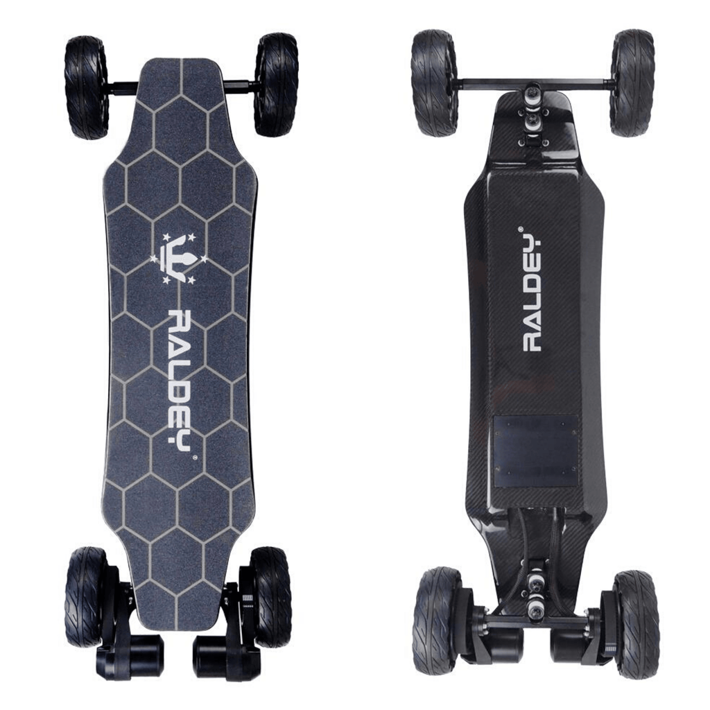 Raldey Carbon AT V.2 Off-Road Electric Skateboard vertical front and back of board