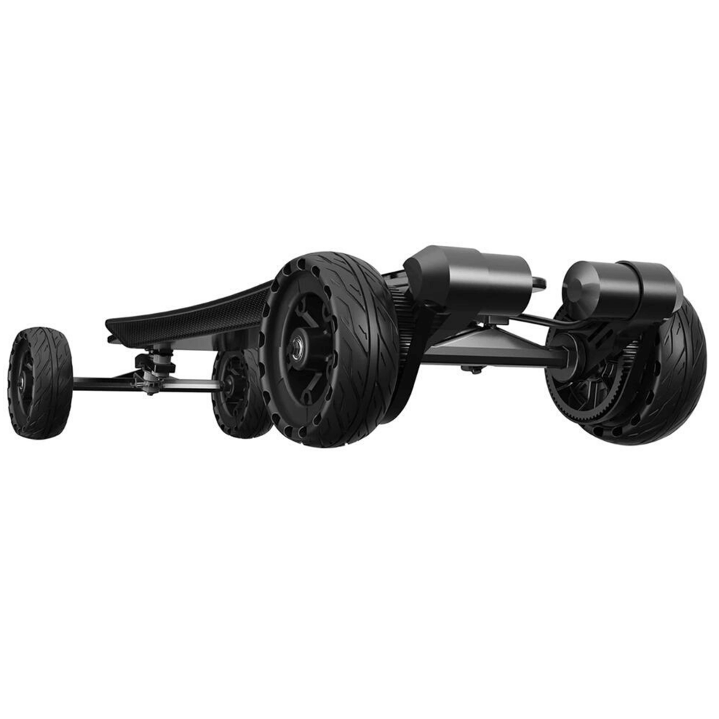 Raldey Carbon AT V.2 Off-Road Electric Skateboard under board, front angle view