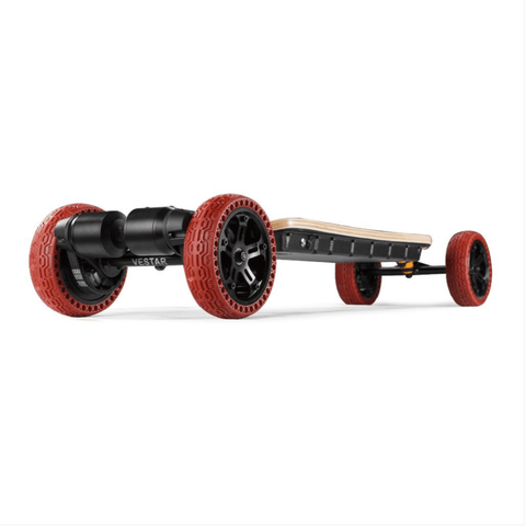 Vestar Black Hawk AT Electric Longboard front angled red tires