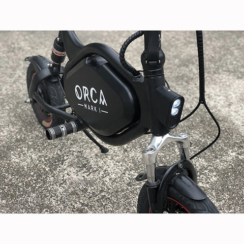 Voro ORCA Ergonomic Foldable & Seated Electric Scooter Top Front View