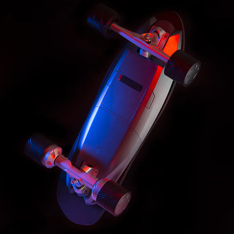Walnutt Spectra X Electric Skateboard Details Back View Lights