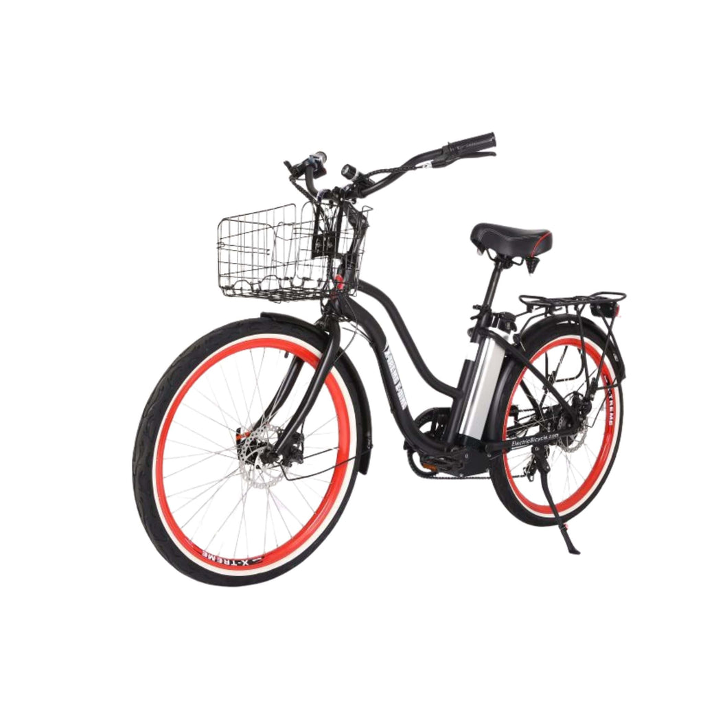X-Treme Malibu Elite Max 36V Electric Bicycle black front angle view