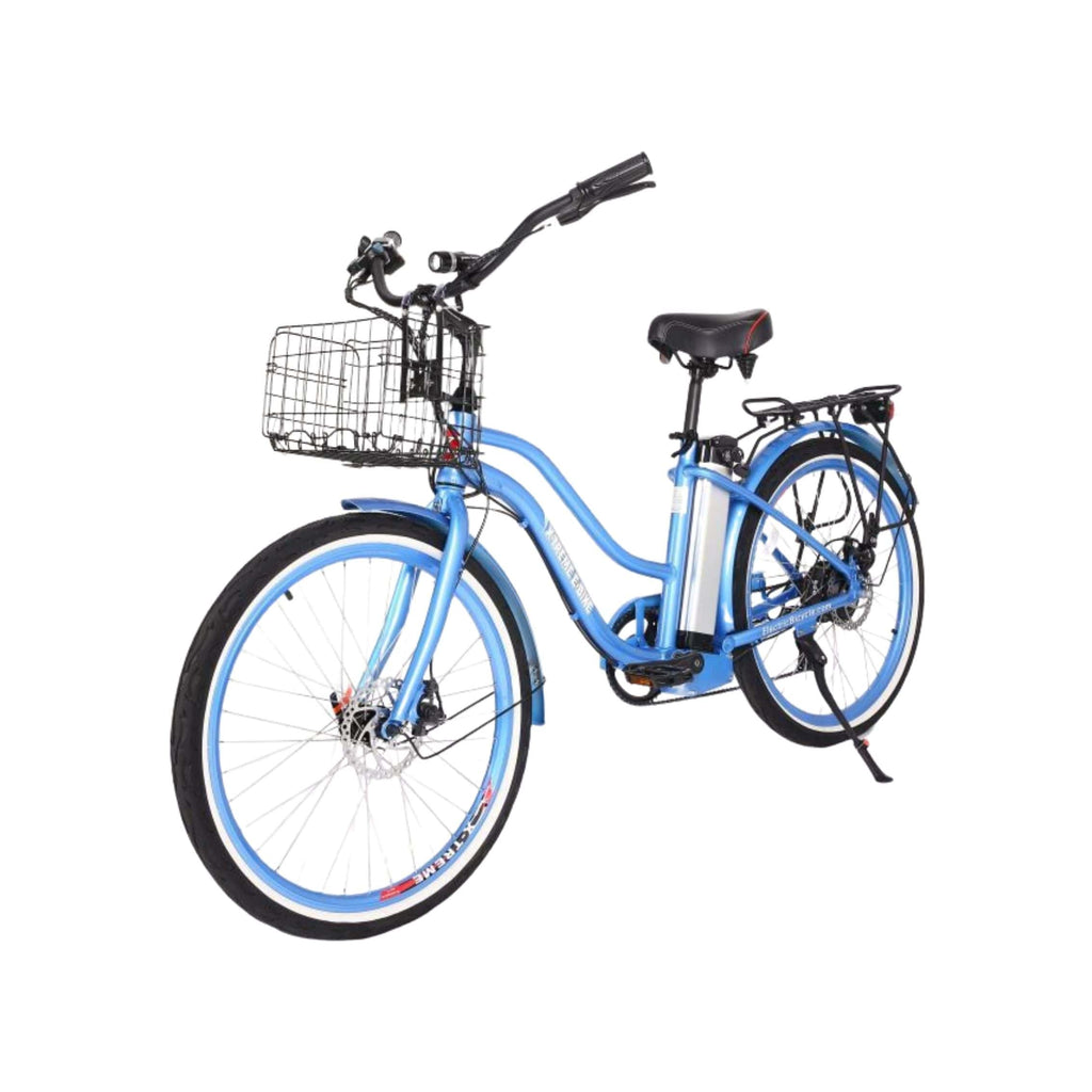 X-Treme Malibu Elite Max 36V Electric Bicycle blue front angle view