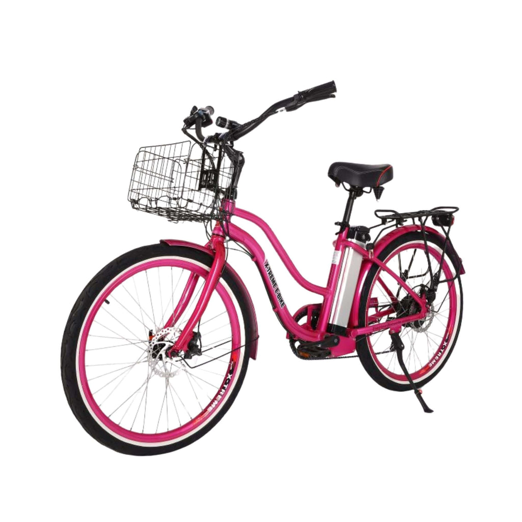 X-Treme Malibu Elite Max 36V Electric Bicycle pink front angle view