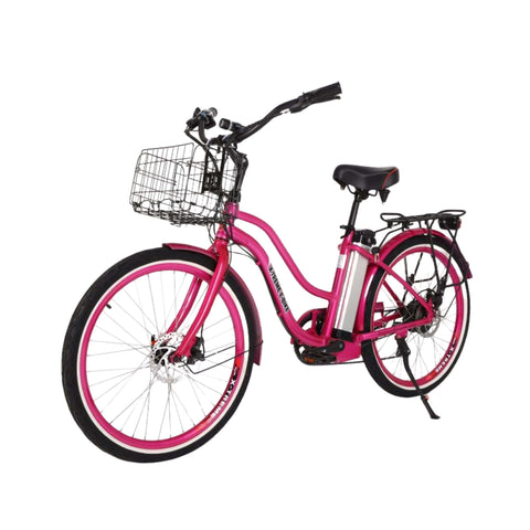 Image of X-Treme Malibu Elite Max 36V Electric Bicycle pink front angle view