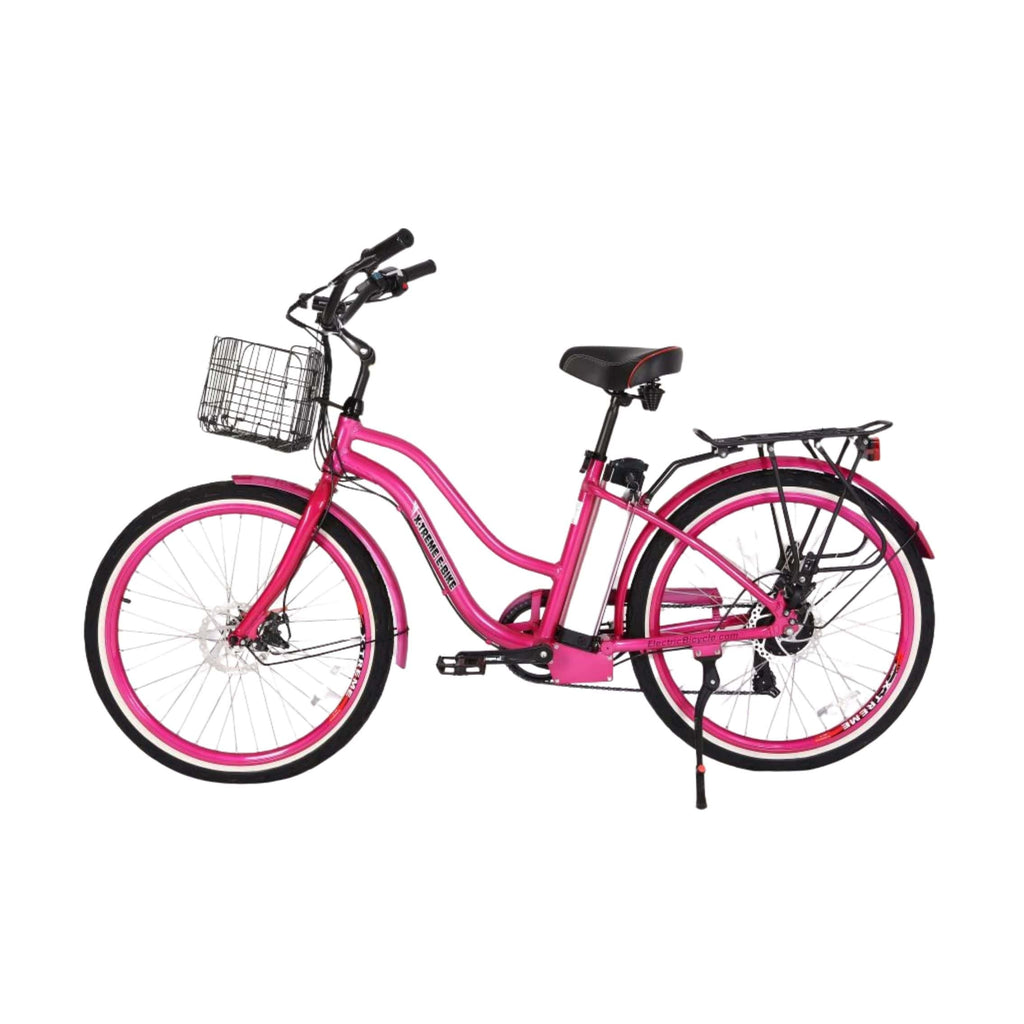 X-Treme Malibu Elite Max 36V Electric Bicycle pink side angle view