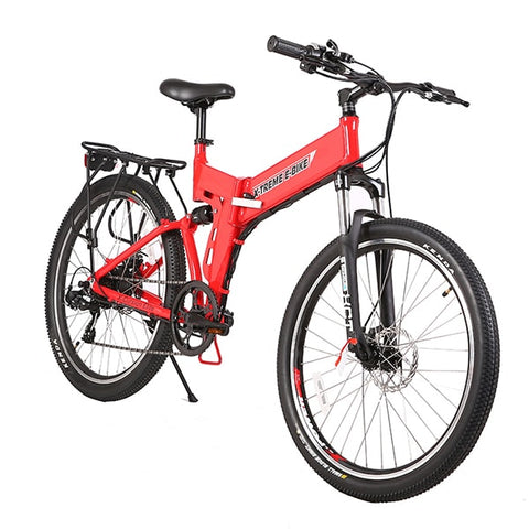 Image of X-Treme X-Cursion Elite 24 Volt Electric Folding Mountain Bicycle Red