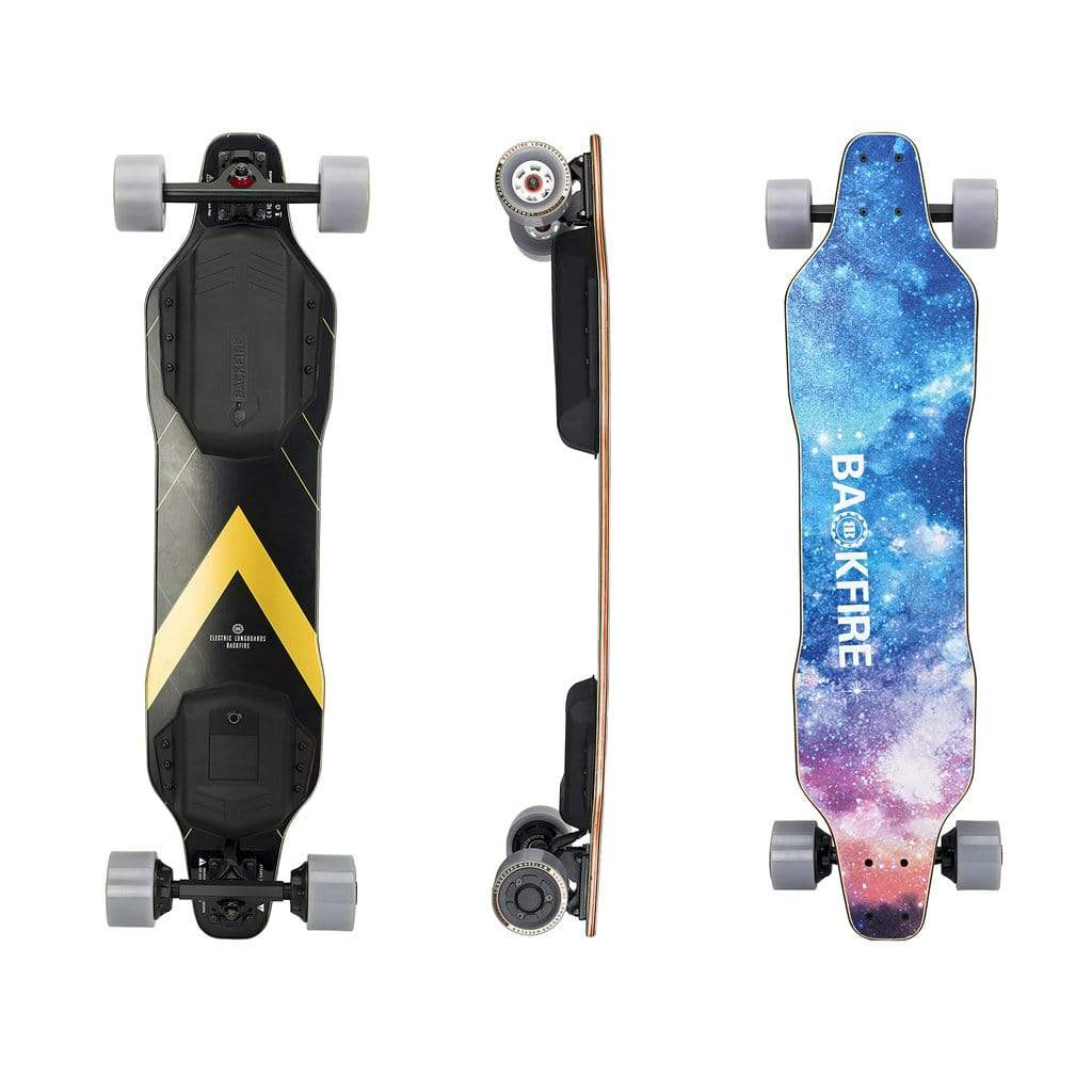 Backfire G2T Electric Longboard Top Side Back View Galaxy Deck