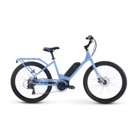 Image of IZIP Vibe 2.0 Step-Thru Electric Bike Side view blue