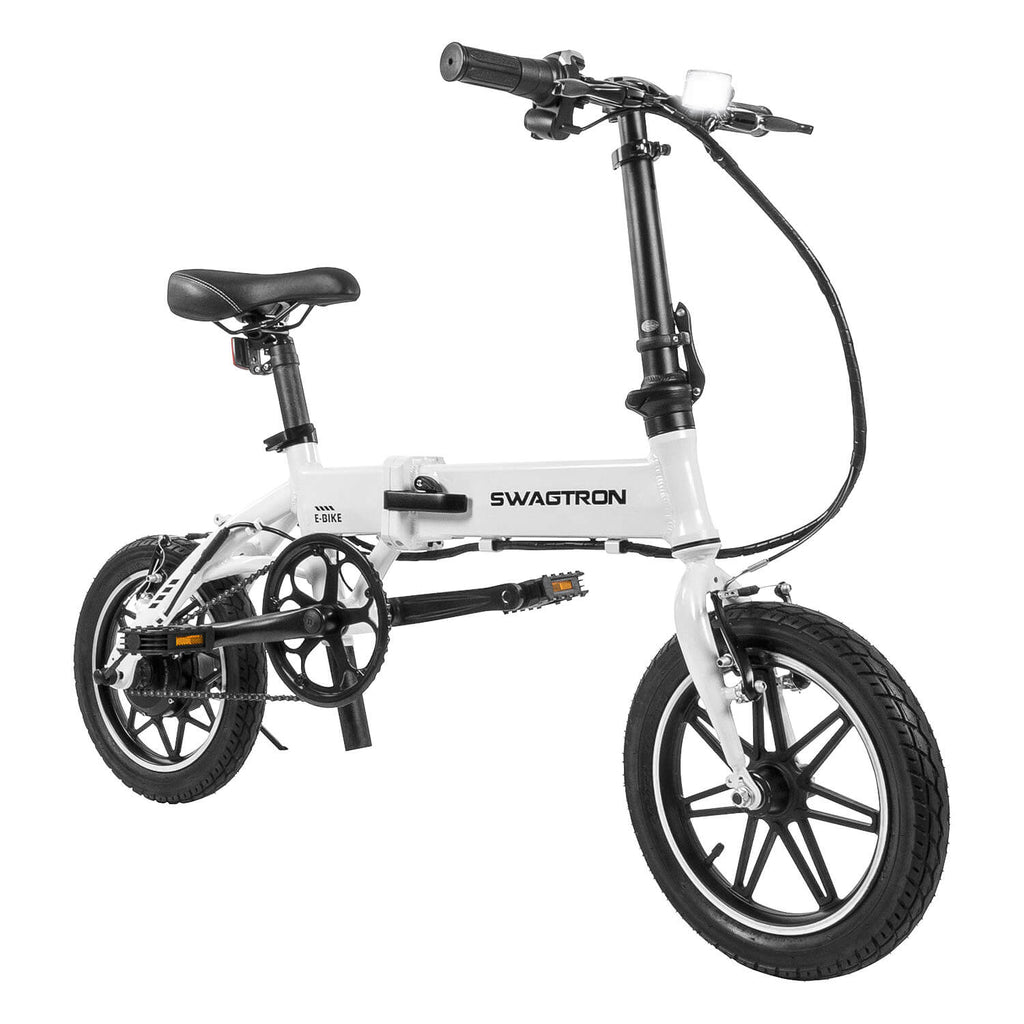 Swagtron EB5 Folding Electric Bike White