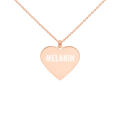 I LOVE MELANIN Engraved Silver Heart Necklace