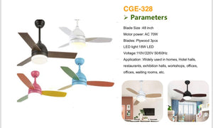48in - LED Remote Control, 3 blades DIFFERENT COLORS