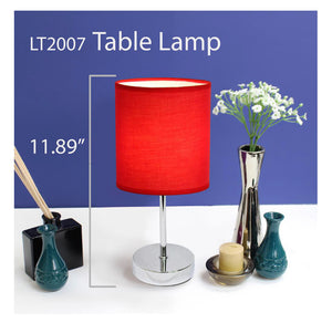 Simple Designs- Chrome Mini Basic Table Lamp with Red