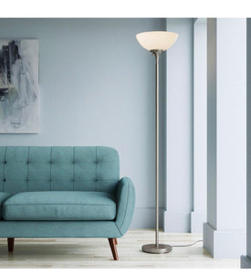 Hampton Bay Satin Steel Floor Lamp with Frosted
