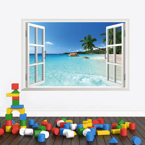 Tropical Sea View Fake Window Wall Sticker