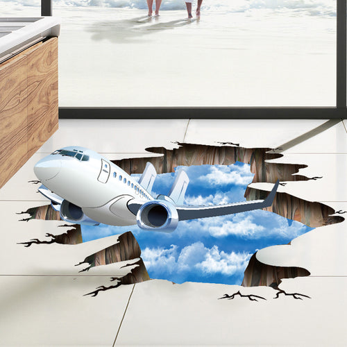 Incoming Plane 3D Floor Sticker