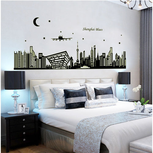 Luminous Shanghai Skyline Wall Sticker