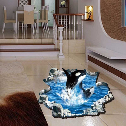 Killer Whales 3D Floor Sticker