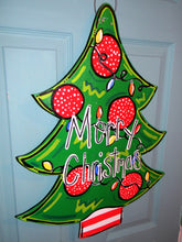 Load image into Gallery viewer, Christmas Door Hanger, Santa, Christmas Tree Wreath Personalized