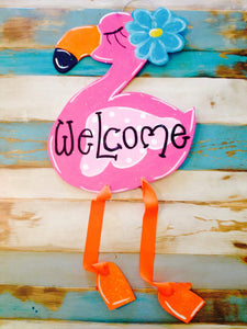 Funky Flamingo, Summer, Beach House Door Hanger Wreath