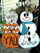 Load image into Gallery viewer, Reversible Happy Fall Pumpkin Winter Snowman