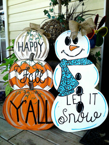 Reversible Happy Fall Pumpkin Winter Snowman