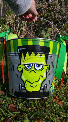 8.5 Big Round Pail Personalized Hand Painted Halloween Bucket Metal Pail
