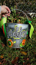 Load image into Gallery viewer, 8.5 Big Round Pail Personalized Hand Painted Halloween Bucket Metal Pail