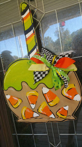 Halloween Door Hanger, Candy Apple, Carmel Apple, Candy Corn
