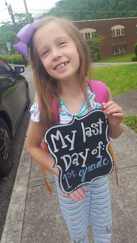 Child's First Day Child's Last Day Reversible Chalkboard Sign Photo Prop