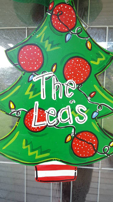 Christmas Door Hanger, Santa, Christmas Tree Wreath Personalized
