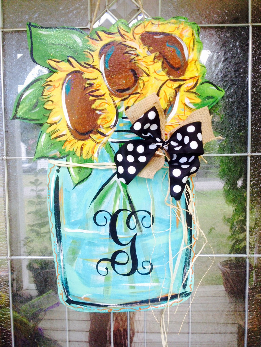 Mason Jar Door Hanger, Flower Door Hanger, Sunflower Door Decor, Fall Wreath