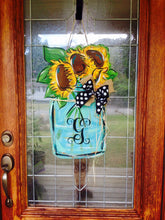 Load image into Gallery viewer, Mason Jar Door Hanger, Flower Door Hanger, Sunflower Door Decor, Fall Wreath