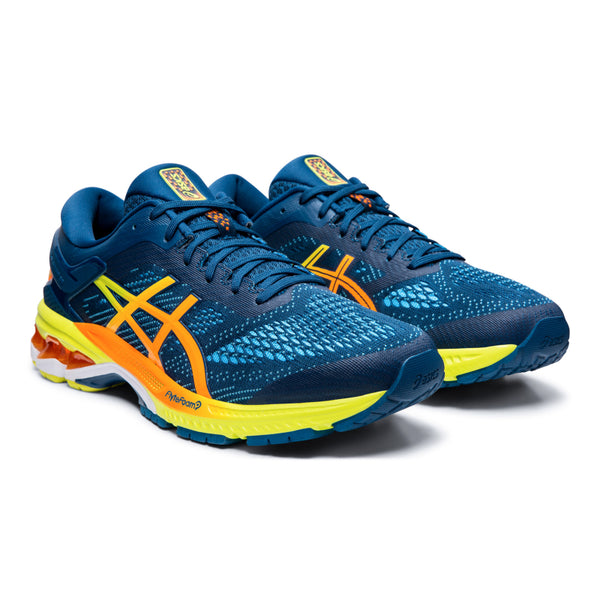 ASICS MENS KAYANO 26 SHINE MAKO BLUE/SOUR YUZU