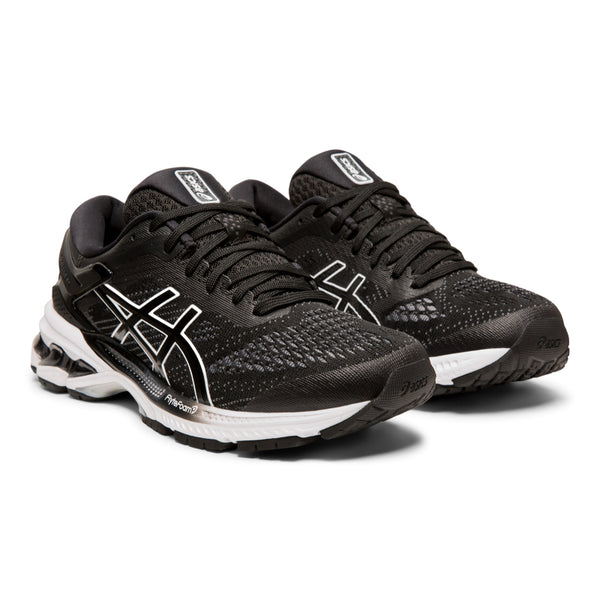 ASICS WOMENS KAYANO 26 BLACK/WHITE
