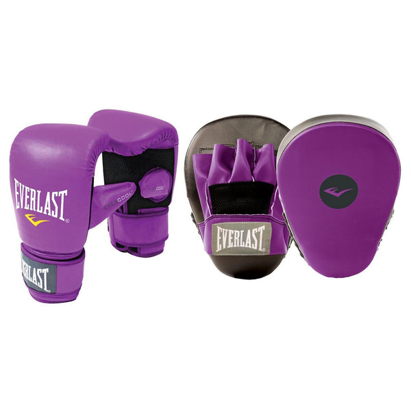 EVERLAST GLOVE AND MITT COMBINATION SET PURPLE